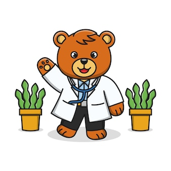 Карикатура иллюстрации медведя доктора