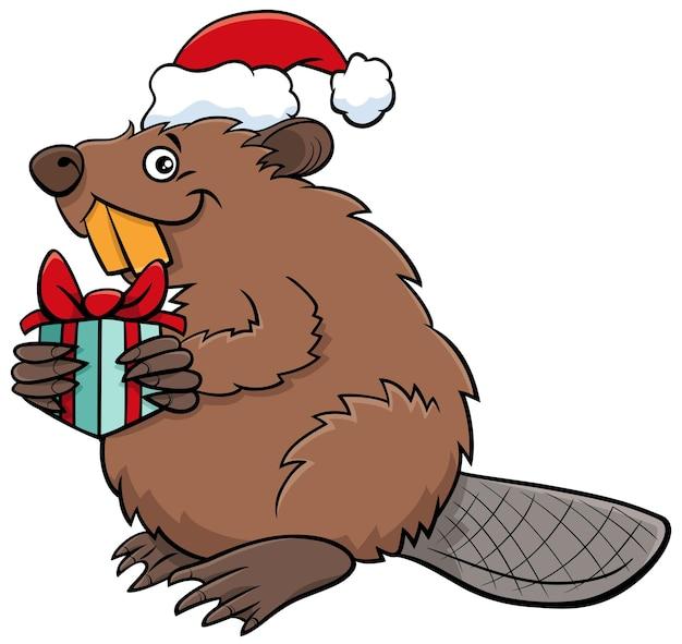 크리스마스 시간에 현재 비버 동물 캐릭터의 만화 그림