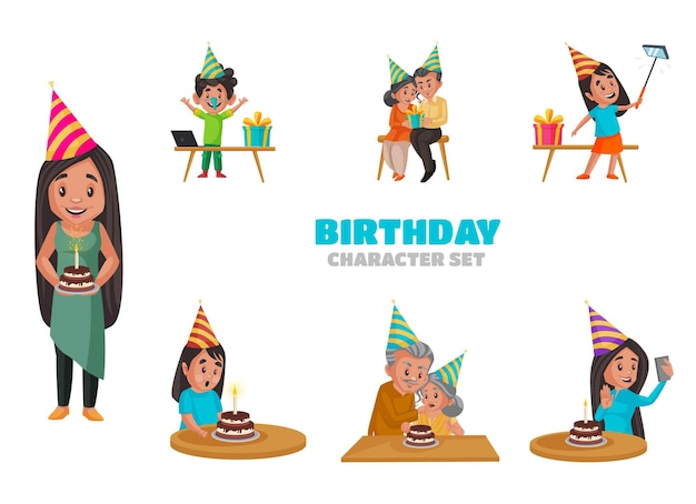 誕生日の文字セットの漫画イラスト