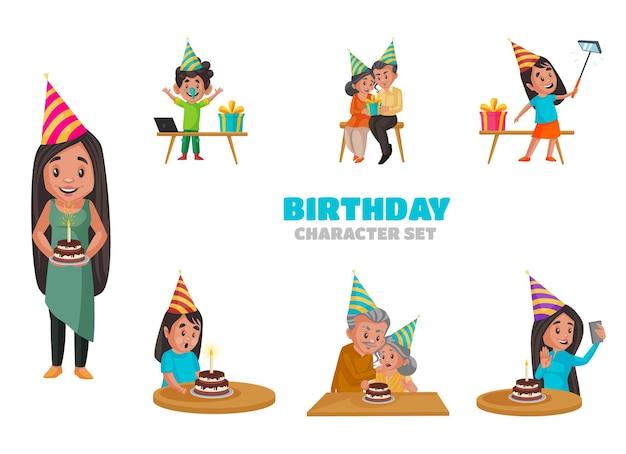 Карикатура иллюстрации набора символов дня рождения