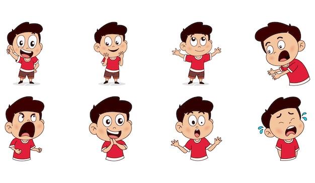 Иллюстрации шаржа набора мальчика