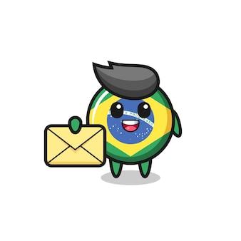 노란색 문자를 들고 있는 브라질 국기 배지의 만화 그림, 티셔츠, 스티커, 로고 요소를 위한 귀여운 스타일 디자인