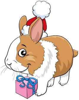 크리스마스 시간에 현재 토끼 동물 캐릭터의 만화 그림