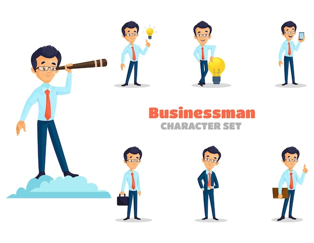 사업가 문자 집합의 만화 그림