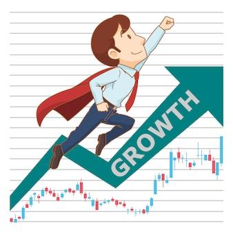 成長株価チャート背景を持って飛び立つビジネスマンの漫画イラスト。