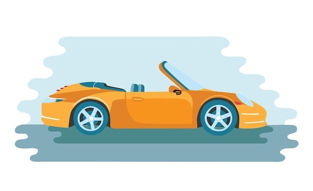 黄色のカブリオレタイプの車の漫画イラスト