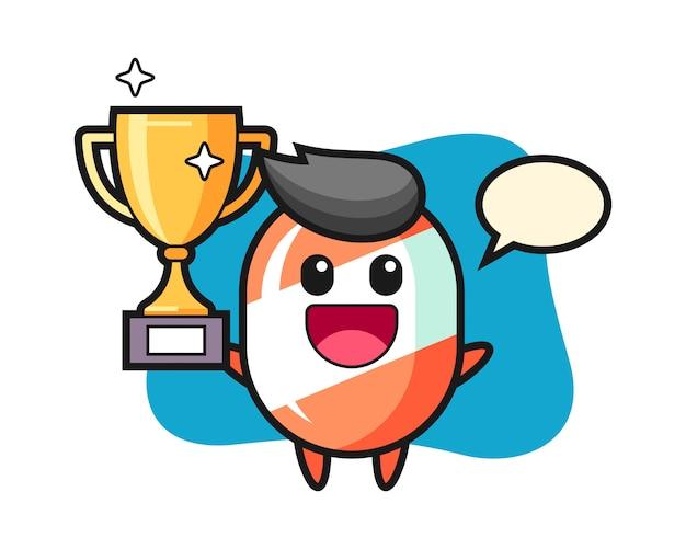 Карикатура иллюстрации конфеты счастлив, держа золотой трофей
