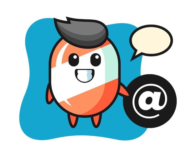 Карикатура иллюстрации конфеты около символа