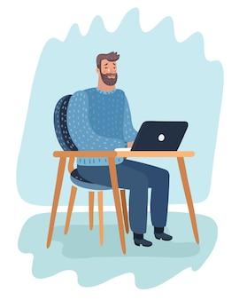 Карикатура иллюстрации мультипликационного персонажа. бородатый хипстер сидит в комнате, работает с ноутбуком и плачет.