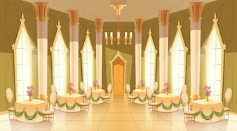 Cartoon illustration of castle hall, ballroom for dancing, royal receptions