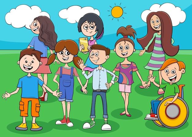 Карикатура иллюстрации детей и подростков группы комических персонажей