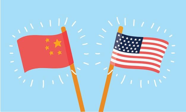 파란색 배경에서 중국과 미국 국기의 만화 그림