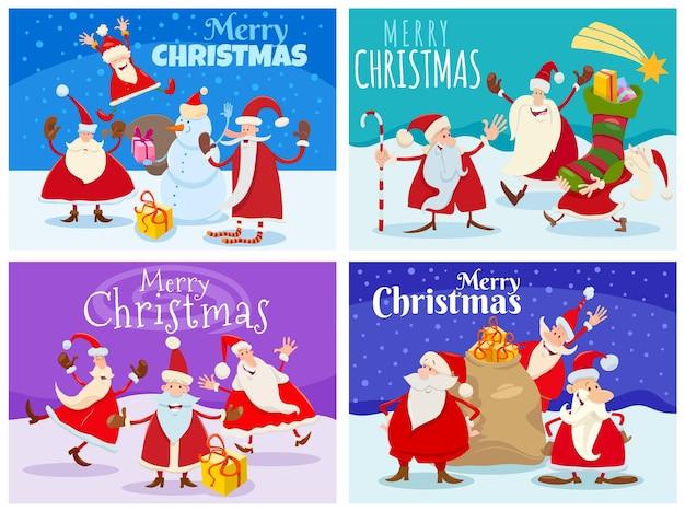 산타 클로스 문자로 설정된 크리스마스 디자인 또는 인사말 카드의 만화 그림