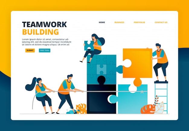 조직에서 팀워크와 협업을 훈련시키기 위해 퍼즐 게임을 완료하는 만화 그림. 팀을위한 문제 해결 게임