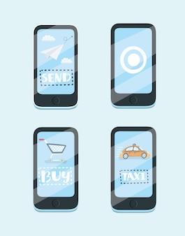 モバイルアプリのコンセプトの漫画イラスト。タクシー、メッセンジャー、オンライン購入。