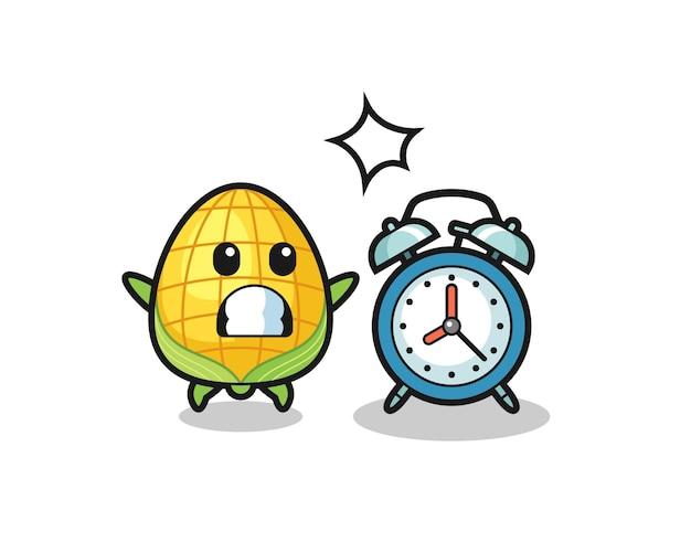 とうもろこしの漫画イラストは、巨大な目覚まし時計、tシャツ、ステッカー、ロゴ要素のかわいいスタイルのデザインに驚いています