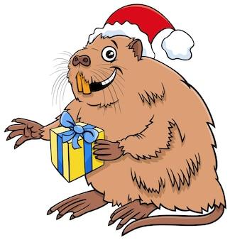 크리스마스 시간에 선물이 있는 코이푸 또는 뉴트리아 캐릭터의 만화 그림