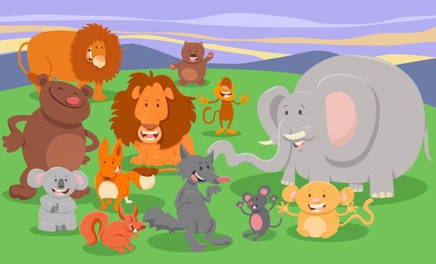 Иллюстрации шаржа милых персонажей животных