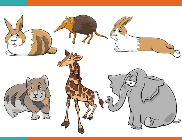 Иллюстрации шаржа милые животные набор комических персонажей