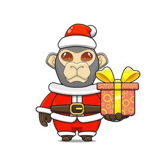 Карикатура иллюстрации милого талисмана обезьяны в костюме санта-клауса, дающего подарочную коробку
