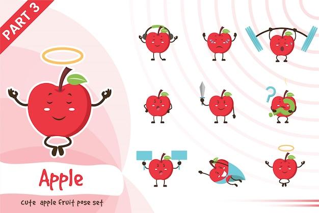 かわいいリンゴ果実セットの漫画イラスト