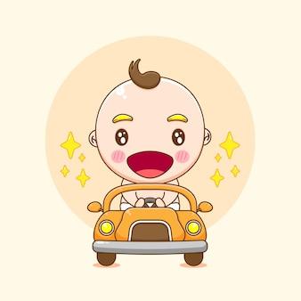 차를 운전하는 귀여운 아기 소년 캐릭터의 만화 그림