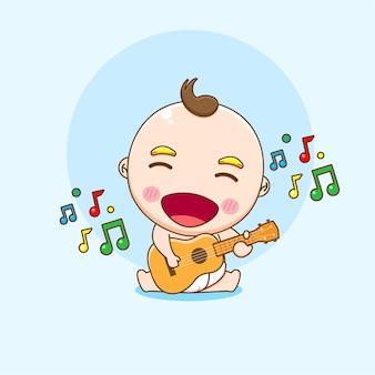 Карикатура иллюстрации милого мальчика, играющего на гитаре