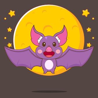 Карикатура иллюстрации милой летучей мыши, летящей перед большой луной