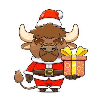 Карикатура иллюстрации милого талисмана бизона в костюме санта-клауса, дающего подарочную коробку