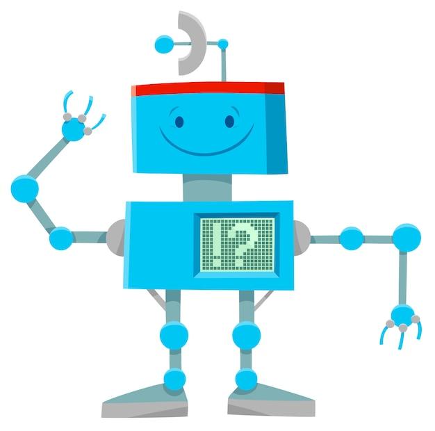귀여운 블루 로봇 캐릭터의 만화 그림