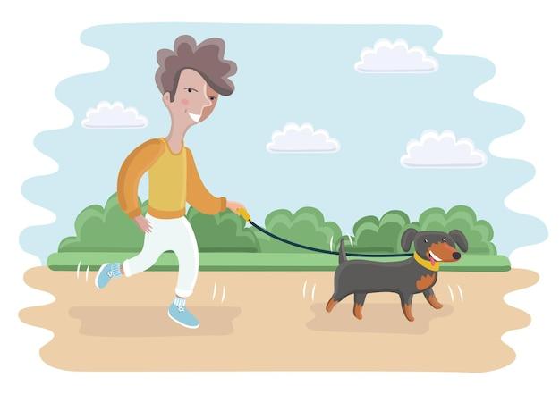 公園で犬と一緒に歩くかわいい男の子の漫画イラスト