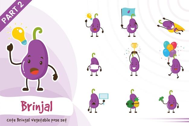 かわいいナス野菜セットの漫画イラスト