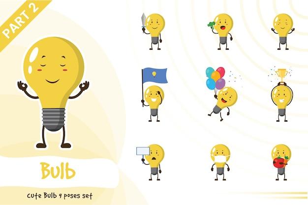 かわいい電球セットの漫画イラスト