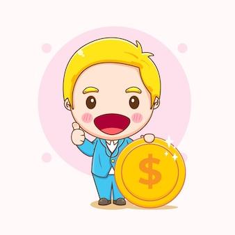 Карикатура иллюстрации милого бизнесмена, держащего монету