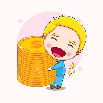 Карикатура иллюстрации милого бизнесмена, держащего монеты