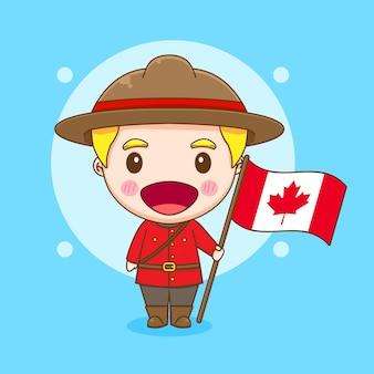 旗を保持しているかわいいカナダの警察のキャラクターの漫画イラスト