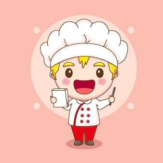 노트와 펜을 들고 귀여운 요리사 캐릭터의 만화 그림