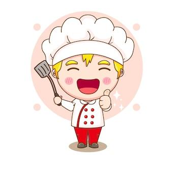 주걱을 들고 귀여운 요리사 캐릭터의 만화 그림 프리미엄 벡터