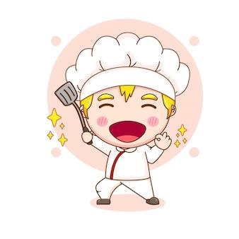 주걱을 들고 귀여운 요리사 캐릭터의 만화 그림