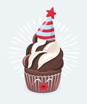 웃는 얼굴과 함께 귀여운 만화 초콜릿 머핀 만화 캐릭터의 만화 그림 키스. 축하합니다. 흰색 배경에 벡터 음식 그림입니다.