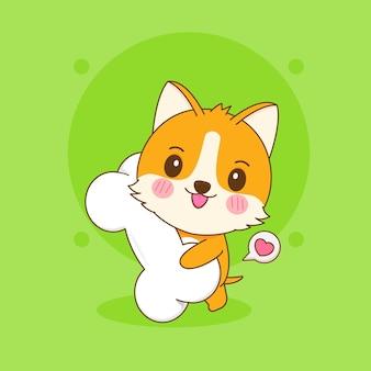 귀여운 corgi 강아지 캐릭터의 만화 그림은 큰 뼈를 가져옵니다