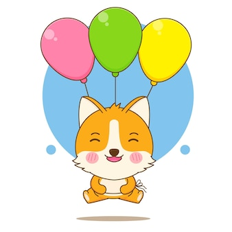 풍선과 함께 떠 있는 귀여운 corgi 강아지 캐릭터의 만화 그림