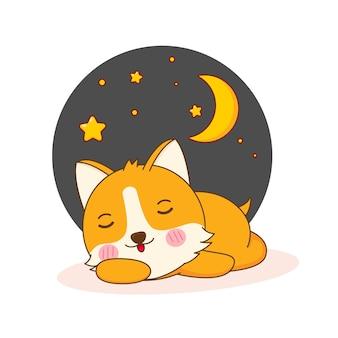 잠자는 귀여운 corgi 강아지 캐릭터의 만화 그림