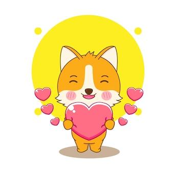 귀여운 corgi 강아지 캐릭터의 만화 그림