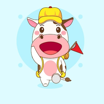 Карикатура иллюстрации милой коровы как искателя приключений