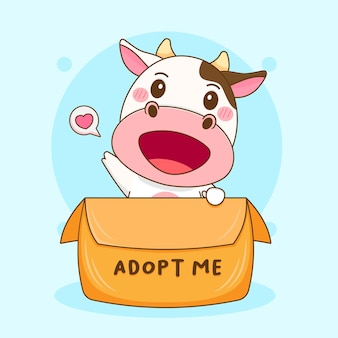 Карикатура иллюстрации милой коровы