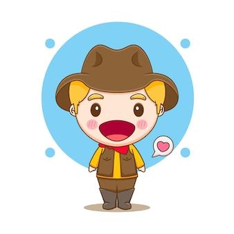 Карикатура иллюстрации милого ковбойского персонажа