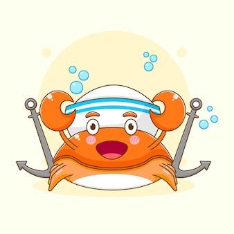Карикатура иллюстрации милый краб как персонаж моряка