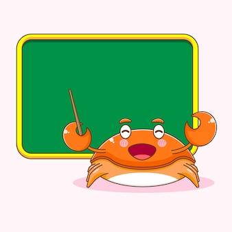 Карикатура иллюстрации милый краб как учитель