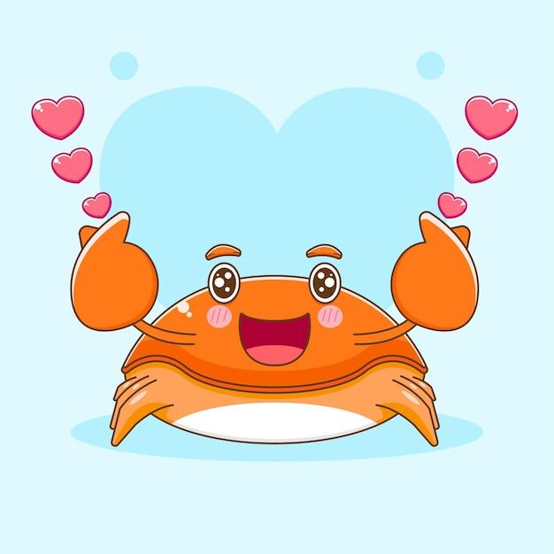 Карикатура иллюстрации милого краба, позирующего любовным пальцем